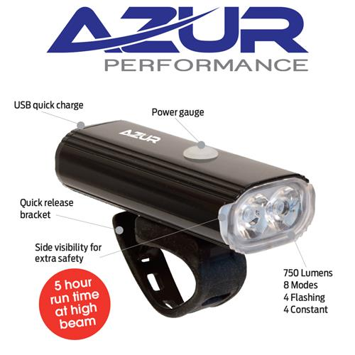 azur 750 lumen usb head light